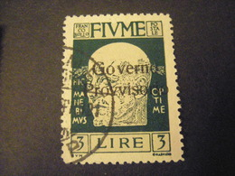FIUME - 1921, D'ANNUNZIO Soprast. Governo Provvisorio, Sass. N. 161, L. 3, Usato  TTB, OCCASIONE - Fiume