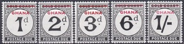Ghana 1958 Postwesen Portomarken Postage Due Ziffernzeichnung Numbers, Mi. 1-5 ** - Ghana (1957-...)