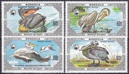 Mongolei Mongolia 1986 Tiere Fauna Animals Vögel Birds Pelikan Pelican Naturschutz, Mi. 1811-4 ** - Mongolei