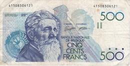BILLETE DE BELGICA DE 500 FRANCS DEL AÑO 1986  (BANKNOTE) (celo Detrás) - [ 2] 1831-... : Reino De Bélgica