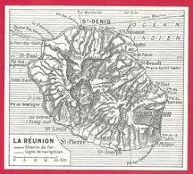 Carte De L'île De La Réunion Larousse 1948 - Autres