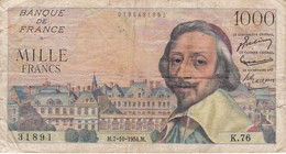 BILLETE DE FRANCIA DE 1000 FRANCOS DEL 7-10-1954 DE RICHELIEU  (BANKNOTE) - 1 000 F 1953-1957 ''Richelieu''