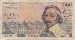 BILLETE DE FRANCIA DE 1000 FRANCOS DEL 7-10-1954 DE RICHELIEU  (BANKNOTE) - 1871-1952 Circulated During XXth