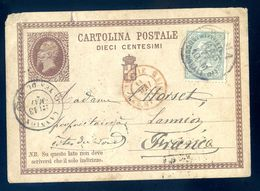 Cpa De 1877 Entier Postaux Cartolina Postale Dieci Centesimi Envoyée De Rome à Lannion SEP17-93 - 1861-78 Victor Emmanuel II.