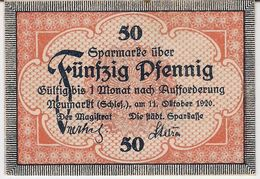 Deutschland Notgeld 50 Pfennig Tieste4890.05.25 NEUMARKT /114M/ - Lokale Ausgaben