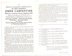Devotie - Devotion - Omer Carpentier - Kanegem 1890 - Poperinge 1970 - Calus - Oudstrijder - Reserve Officier - Overlijden