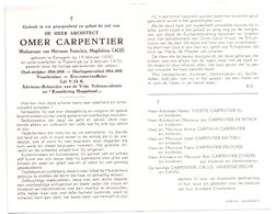 Devotie - Devotion - Omer Carpentier - Kanegem 1890 - Poperinge 1970 - Calus - Oudstrijder - Reserve Officier - Avvisi Di Necrologio