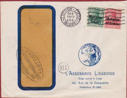 Belgique Belgien 1917 WW1 WWI Militärische ÜBERWACHUNGSSTELLE Deutsches Reich Liege L' Assurance Liegeoise Luttich - WW I