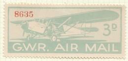 G.W.R. Air Mail 3d. Label MM * - Cinderellas