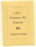 I.A.L. Western Air Express  3d.  Label MM * - Cinderellas