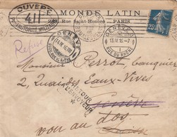 ENVELOPPE LE MONDE LATIN PARIS. 10 4 16. POUR GENEVE SUISSE (2 CACHETS). REFUSÉ CENSURE ET RETOUR / 3 - 1921-1960: Moderne
