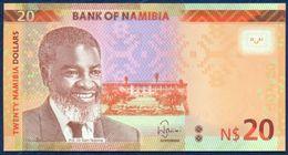 NAMIBIA 20 DOLLARS P-17  FAUNA ANIMALS RED HARTEBEEST ANTELOPE 2015 UNC - Namibie