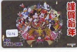Télécarte Dorée Métal Japon / MF-1000369 - DISNEY - Mickey Minnie Donald (5636) Dart - Japan Gold Phonecard - Disney