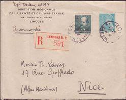 ENVELOPPE TIMBRE 1942  RECOMMANDEE LIMOGES RP VOIR PHOTO - Marcophilie (Lettres)