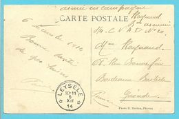 Kaart Met Sterstempel (Relais) * LEYSELE * Op 6/12/1914 - Zone Non Occupée