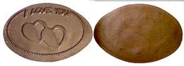 02887 GETTONE JETON TOKEN ELONGATED PENNY I LOVE YOU - Pièces écrasées (Elongated Coins)