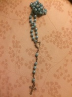 Rosario Perline In Plastica Anno 60 Vintage Azzurro - Religione & Esoterismo