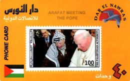 *PALESTINA - INCONTRO TRA ARAFAT E PAPA GIOVANNI PAOLO II°* - Serie Di 4 Schede Usate - Palestine