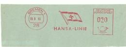EMA AFS METER STAMP FREISTEMPEL -  CUT GERMANY BREMEN FLAG BANDIERA HANSA LINIE VOJAGES TRAVELS TRANSPORT - Ferien & Tourismus