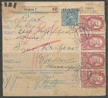 Yugoslavia SHS Slovenia Bosnia Jugoslawien Paketkarte Parcel Card  1921 High Franking, Signed Velickovic - 1919-1929 Königreich Der Serben, Kroaten & Slowenen