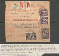 Yugoslavia SHS Jugoslawien Paketkarte Parcel Card 1923 With Scarce Franking Mi.167I + II, Both Types , Signed Velickovic - 1919-1929 Königreich Der Serben, Kroaten & Slowenen