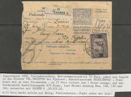 Yugoslavia SHS Jugoslawien Paketkarte Parcel Card 1922 Franked With Mi.166 With Plate Flaw, Signed Velickovic - 1919-1929 Königreich Der Serben, Kroaten & Slowenen