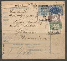 Yugoslavia SHS Slovenia Bosnia Jugoslawien Paketkarte Parcel Card 1920 Franked With Porto Stamp, Signed Velickovic - 1919-1929 Königreich Der Serben, Kroaten & Slowenen