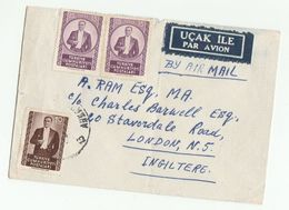 Old Air Mail TURKEY Stamps COVER To GB  Airmail Label - 1921-... Republic