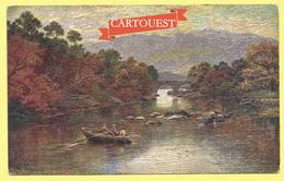 CPA Paysage Avec Peinture Relief  Tableau Barques Sur Le Fleuve  Grâce Au Procédé   Olio - Peintures & Tableaux