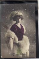 476 . THEME . BONNE ANNEE . (recto/verso) ANNEE  1914 . FEMME AVEC FOURRURE .  FAUVETTE . 1488 - New Year