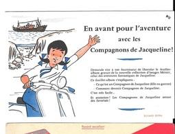BUVARD  Marque  Alimentaire  Chocolats  MENIER,  En Avant Pour L'aventure Avec Les Compagnons De Jacqueline! - Buvards, Protège-cahiers Illustrés