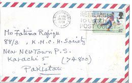 Great Britain Airmail Cover Elizabeth II. 1990. Christmas. Ice-skating. 37p - 1952-.... (Elizabeth II)