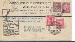 Col109 /  Columbien, Brief,  Erster Direktflug Nach USA, Mit Weiterleitung Nach Paris - Kolumbien