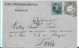 EL083 / ELSASS -  Mühlhausen Hufeisenstempel Spalink 26-2, Doppelfrankatur 4.5.1872 - Deutschland