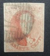 BELGIE  1858   Nr. 12   Gerand     Gestempeld       CW  90,00 - 1858-1862 Medallions (9/12)