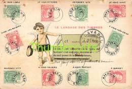 CPA LITHO LANGAGE DES TIMBRES ANGE ANGEL FACTEUR BELGIE BELGIQUE J BRIAN BRUXELLES - Timbres (représentations)