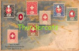 CPA LITHO LANGAGE DES TIMBRES DIE ALTEN TELEGRAPHENMARKEN DER SCHWEIZ  ( ETAT !! CONDITION !! ) - Stamps (pictures)