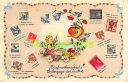 CPA  LANGAGE DES TIMBRES BRIEFMARKEN HELVETIA SUISSE SWITZERLAND ANGE ANGEL - Stamps (pictures)
