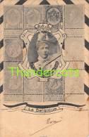 CPA  LANGAGE DES TIMBRES BRIEFMARKEN STAMPS POSTZEGELS SOUVENIR BELGIQUE BELGIE LEOPOLD II ( GRAND PLI !! ) - Timbres (représentations)