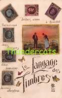 CPA  LANGAGE DES TIMBRES BRIEFMARKEN STAMPS POSTZEGELS SOUVENIR BELGIQUE BELGE  J F MILLET - Timbres (représentations)
