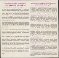 Bangladesh 2017 63rd CPC 2 Withdrawn+1 Issued Info Leaflet / Brochure Commonwealth Queen Elizabeth EIIR GB Australia - Bangladesh