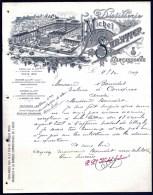 FACTURE OU LETTRE ANCIENNE DE CARCASSONNE- 1909- GRANDE DISTILLERIE- BELLE ILLUSTRATION- USINE ET BOUTEILLE- 2 SCANS- - Food