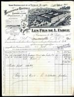 FACTURE OU LETTRE ANCIENNE DE CARCASSONNE- 1905- CHIFFONS DE LAINE- PAPETERIE- BELLE ILLUSTRATION- USINE- CITÉ- 2 SCANS- - Kleidung & Textil