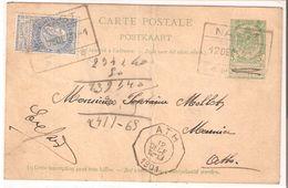 EP. Carte N° 27 + TP. 60(léger Pli) Oblit. CHEMIN DE FER NAAST 12/12/1901 V/ATH Rare. - Ganzsachen