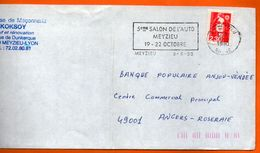 69 MEZIEU   5° SALON DE L'AUTO 1990 Lettre Entière 110x220 N° JJ 781 - Oblitérations Mécaniques (flammes)