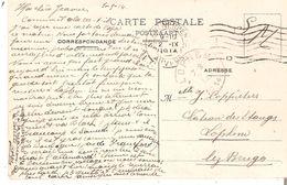 CP. S.M. G/14/18 Iers MOIS - ANTWERPEN 2.IX.14 - Arr. Dépôt-relais De LOPHEM Du 3.IX.14 - Weltkrieg 1914-18