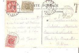 CP. FRANCE T.P. Mouchon 10c. SEDAN Du 31/7/1904 V/FOREST - T.Tx 5 Et 6 FOREST LEZ BRUXELLES - Postage Due