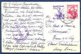 1950 , AUSTRIA , TARJETA POSTAL CIRCULADA , VIENA - WISSEN , CENSURA - 1945-60 Briefe U. Dokumente