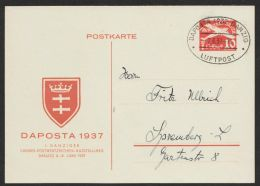 "GS,  Mi-Nr. PP3, ""DAPOSTA"" 1937, Luftpost- Sonderstempel, O - Danzig"
