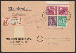 """Mi-Nr. 936, 944, 954, Dek. MiF Auf R-Brief Mit Rückschein """"Berlin"""", 13.8.47, Sehr Selten - Gemeinschaftsausgaben"""